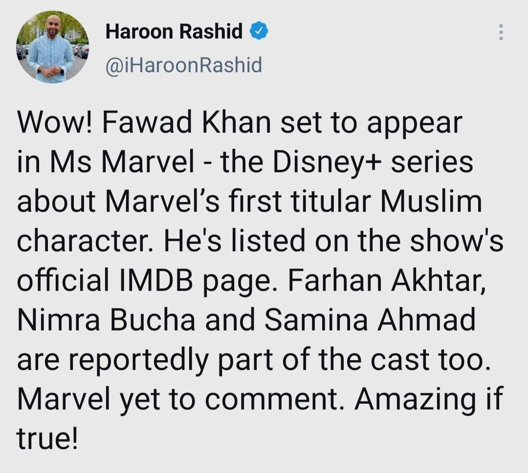 Fawad Khan in Ms. Marvel